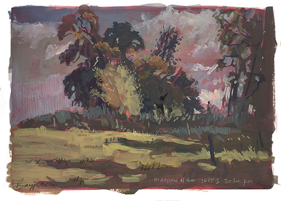 Marden Hill late afternoon, watercolour-gouache on A4 board