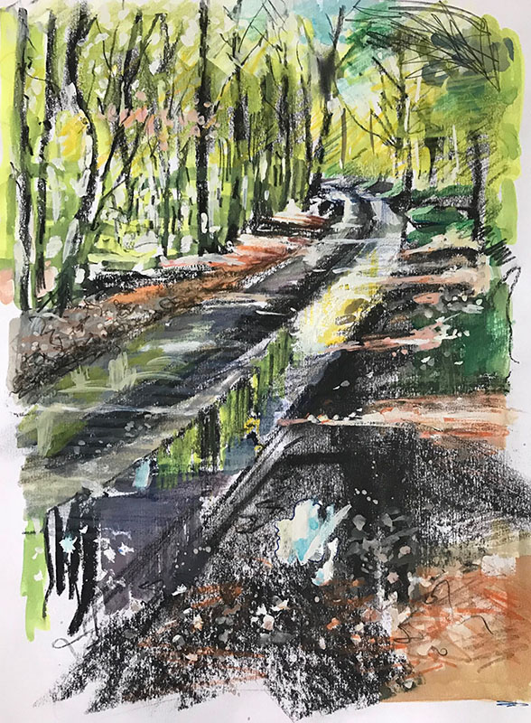 After rain, Hammonds Lane. Mixed media sketchbook drawing