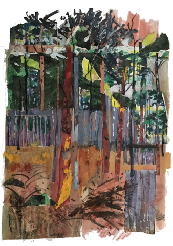 Sunset in the Pines, mixed media collage