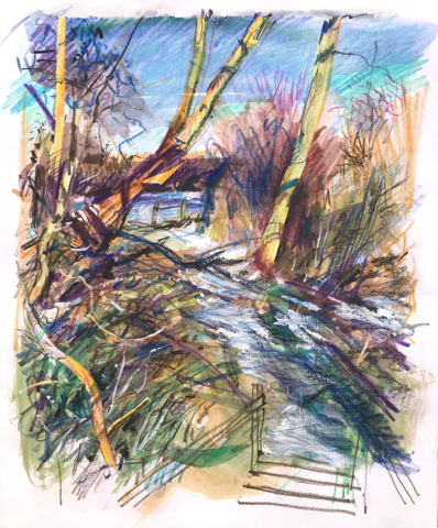 Bush End ice and snow, mixed media sketchbook drawing