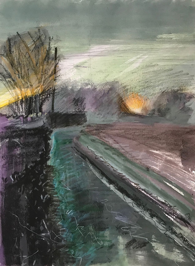 Headlights in the Lane, mixed media sketchbook drawing