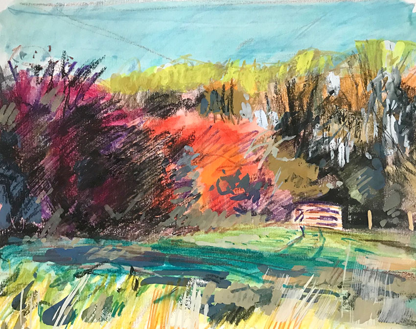 HollyBushes in sunlight, mixed media sketchbook drawing