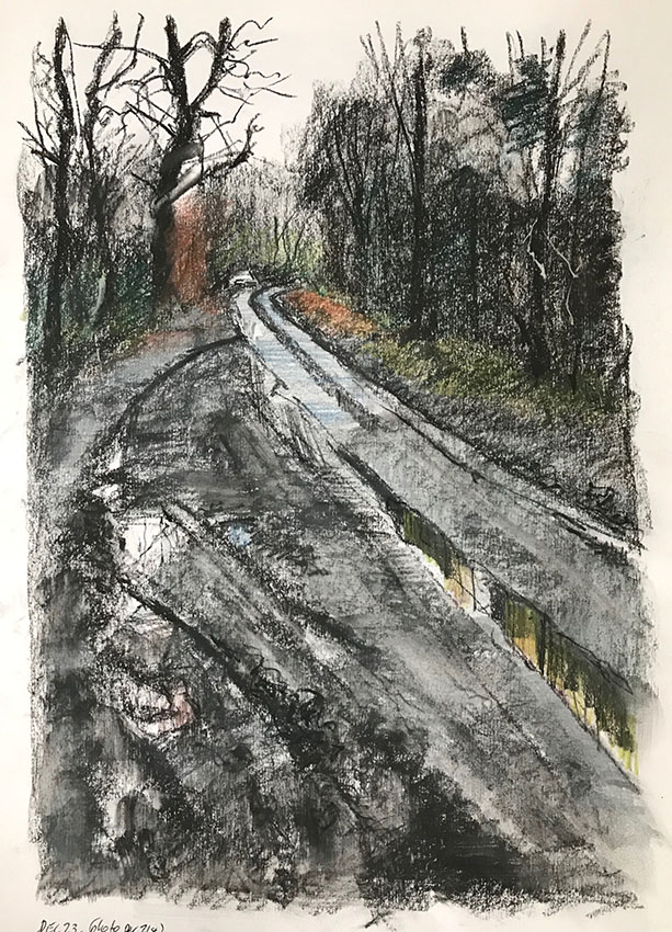 Late afternoon, Hammonds Lane. Mixed media sketchbook drawing, A3